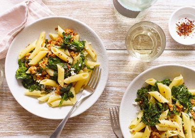 One-pot penne with broccoli rabe and sausage