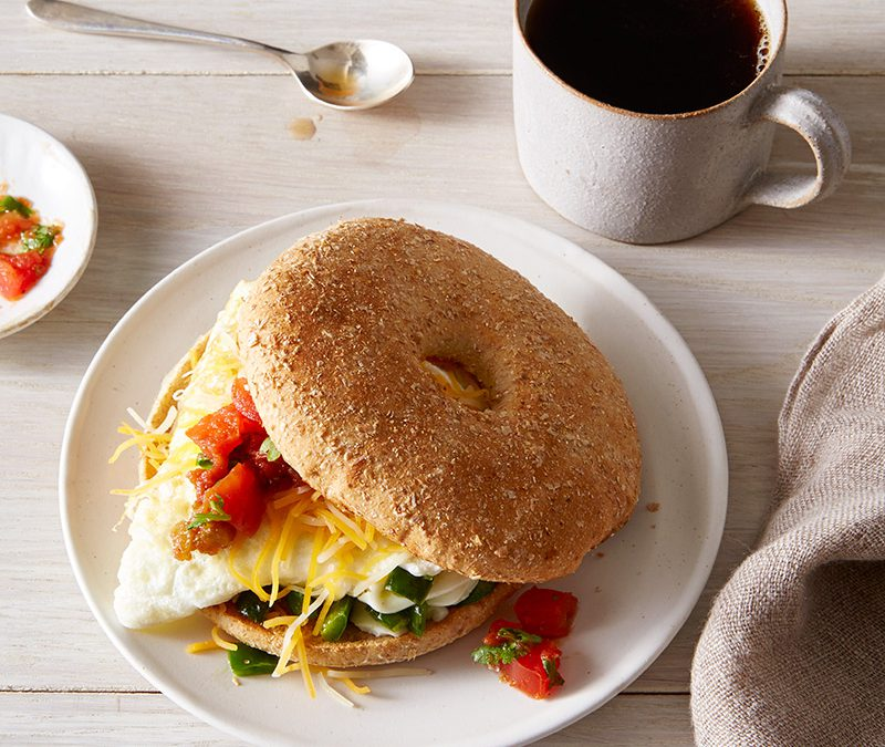 Poblano and egg breakfast sandwich