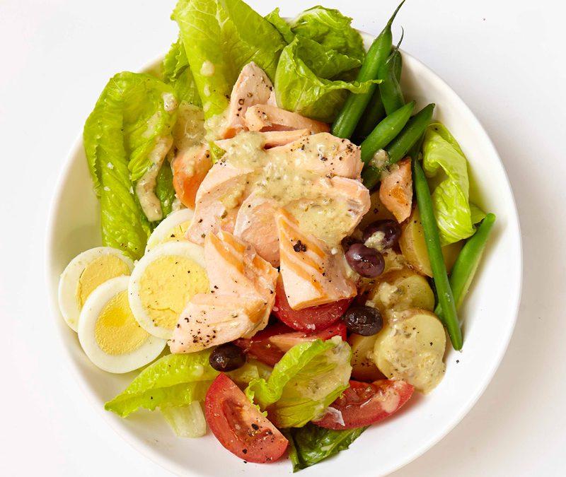 Salmon niçoise salad with lemon-caper dressing