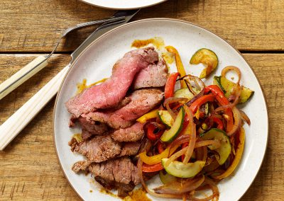 Spice-Rubbed Flank Steak with Fajita Vegetables