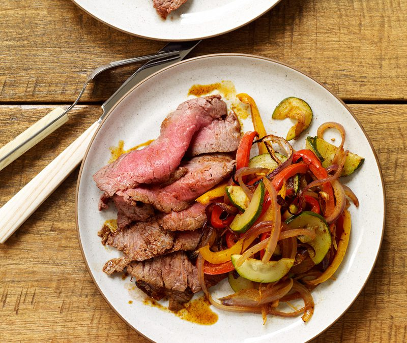 Spice-Rubbed Flank Steak with Fajita Vegetables