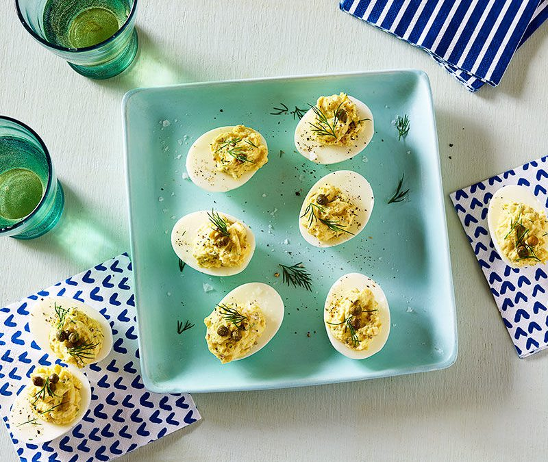 Deviled eggs with capers and dill