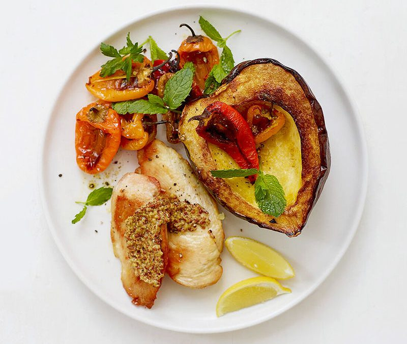 Roasted chicken with squash and peppers