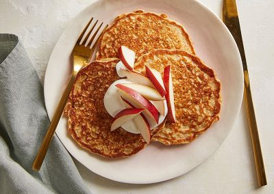 Buttermilk-Oat Pancakes with Yogurt and Pear