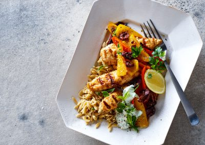 Greek chicken with tzatziki, orzo & peppers