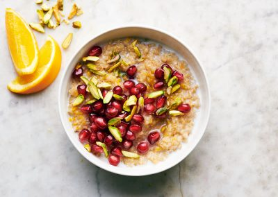 Irish steel-cut oats with pomegranate and pistachios