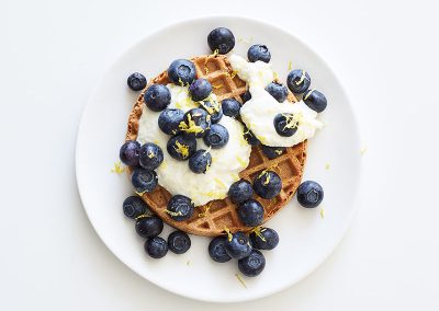 Waffle with lemony ricotta and blueberries
