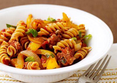 Italian turkey sausage and pepper pasta