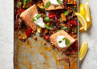 Roasted salmon with chickpeas, zucchini, and red pepper
