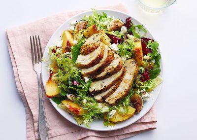 Chicken, peach & fig salad with ricotta salata