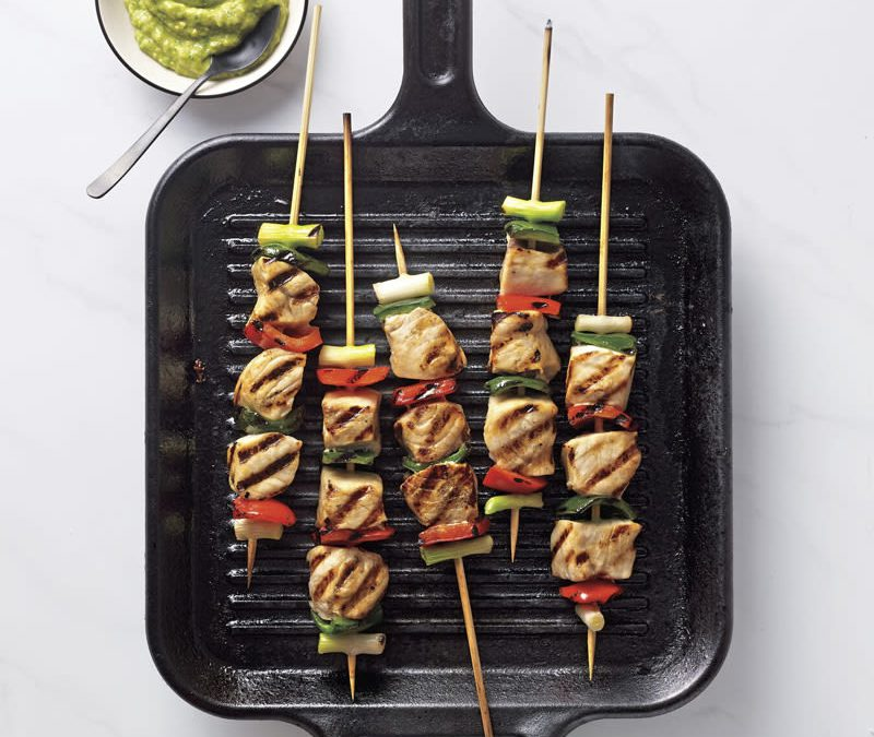 Swordfish and veggie skewers with creamy avocado sauce