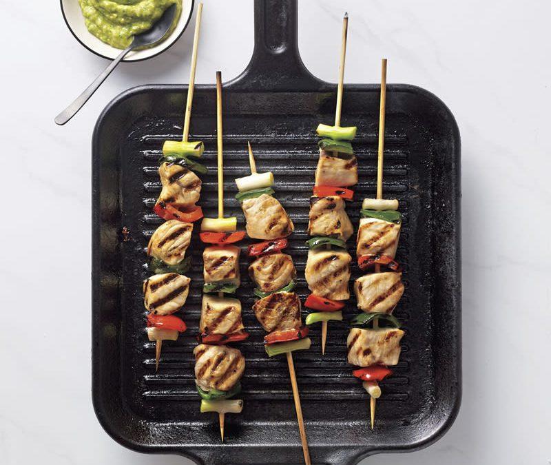 Swordfish and veggie skewers with creamy avocado sauce