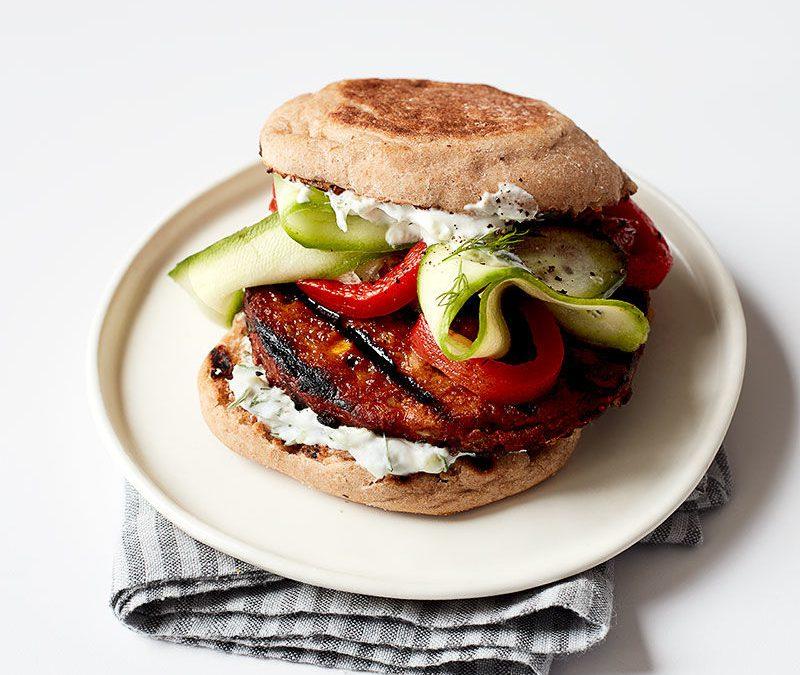 Greek-inspired veggie burger