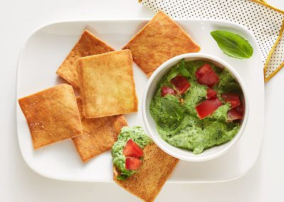 Basil-spinach dip with pita chips