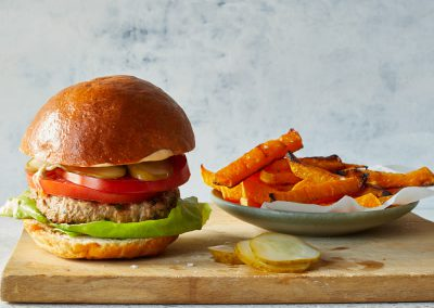 All-American turkey burger with squash fries