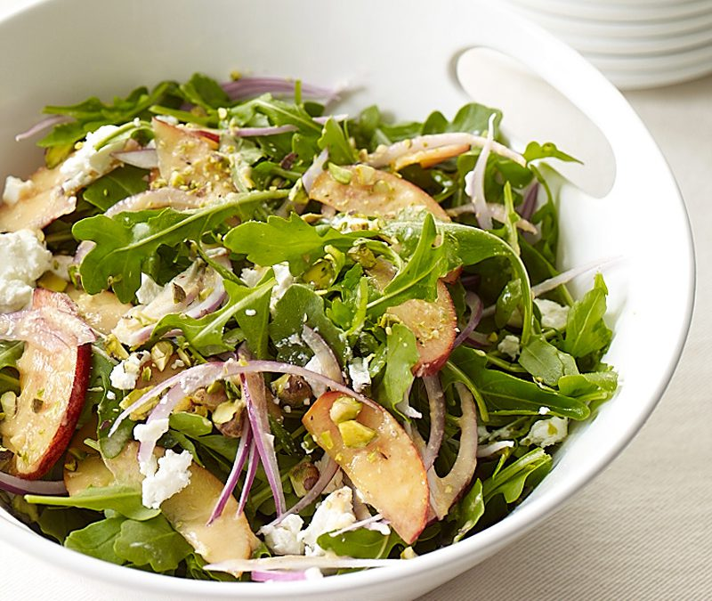 Arugula, peach, and goat cheese salad