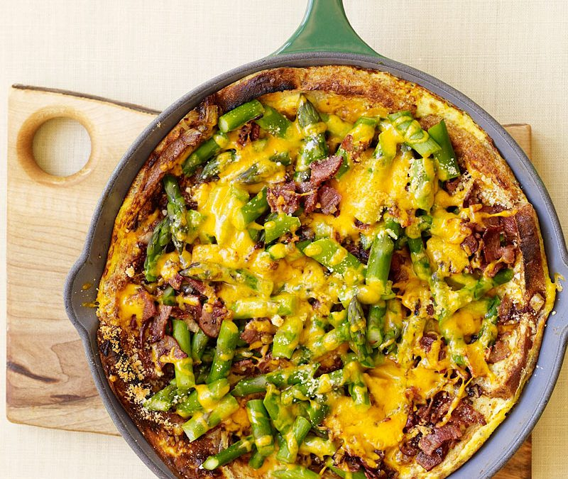Asparagus, bacon, and cheese strata