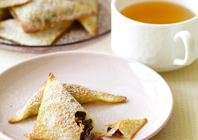 Baked chocolate, almond, and cranberry wontons