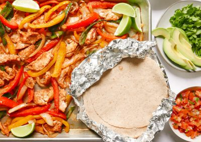 Sheet-pan chicken fajitas with the works