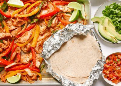 Sheet-pan chicken fajitas with the works