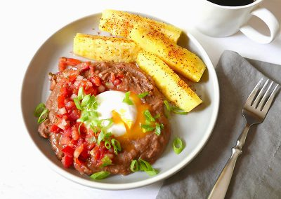 Refried beans with poached egg and pico